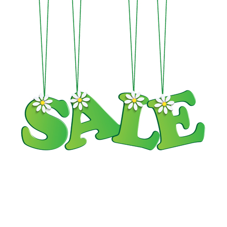 dime: seasonal sale.green tag with flowers.vector