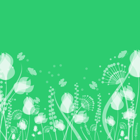 morning dew: flowers and butterflies on a green background .floral design.vector