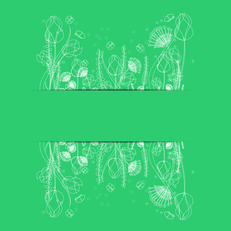 flowers and butterflies on a green background .floral design.vector