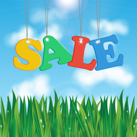 biz: word sale on a background of blue sky and green grass.seasonal sale. Illustration