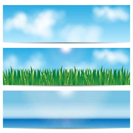 summer's: set backgrounds nature.blue sky and green grass.eco design.vector