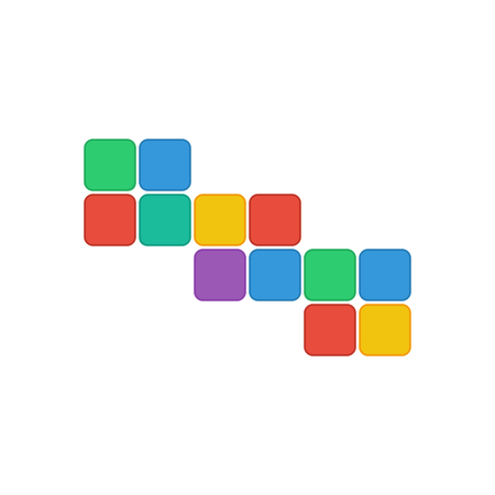 colorful rectangles isolated on white background.geometric shape of colorful squares.abstract design.vector Illustration