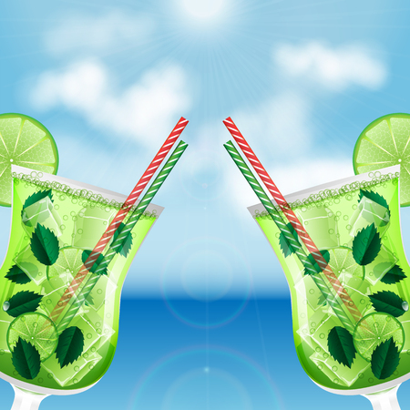 two glasses with cocktails on the background of sea and sky.summer background.mojito cocktail.vector Illustration