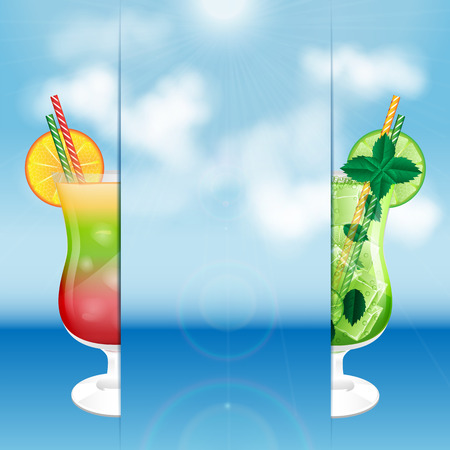 two glasses with cocktails on the background of sea and sky.summer background.vector Illustration