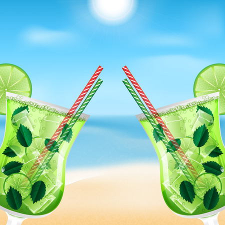 two glasses with cocktails on the background of sea and sky.summer background.beach background.mojito cocktail.vector Illustration