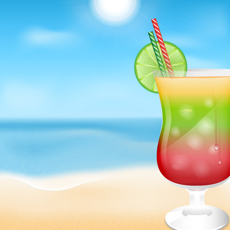 briny: glass with cocktails on the background of sea and sky.summer background.beach background.vector