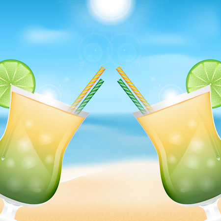 two glasses with cocktails on the background of sea and sky.summer background.beach background.vector Illustration