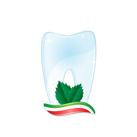 Healthy tooth with toothpaste and mint leaves isolated on white background