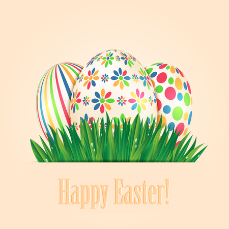 Easter eggs with colorful patterns and green spring grass Illustration