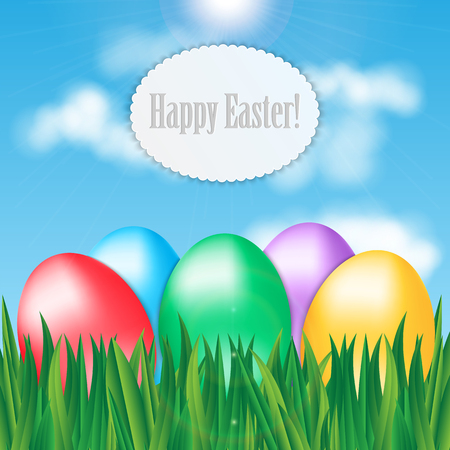 Colorful Easter eggs on green grass on blue sky background and frame for your text Illustration
