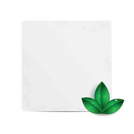 Sheet of paper for your text decorated with green leaves
