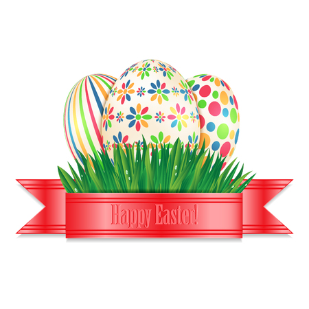 Easter eggs with colorful patterns and green spring grass isolated on white background