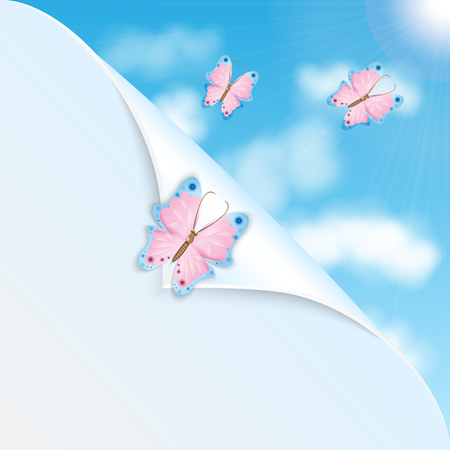 Pink butterflies and blue sky with clouds Illustration