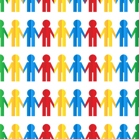 Seamless pattern with colorful human figures out of paper