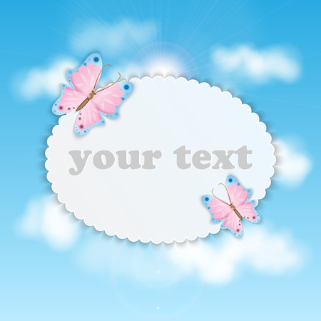 Blue sky with clouds and frame for your text colorful butterflies
