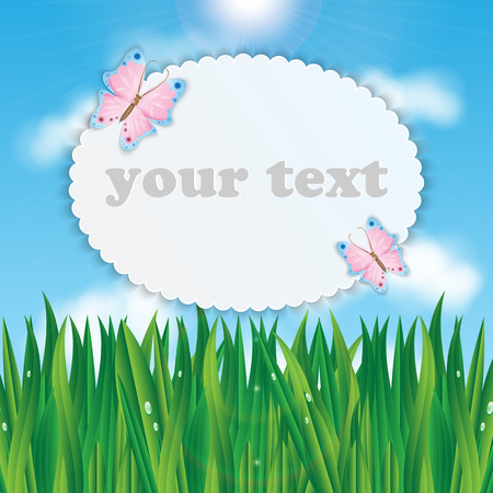 glade: Frame for your text with colorful butterflies on a background of blue sky and green grass
