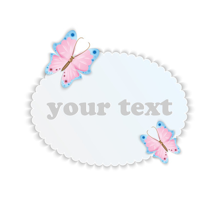 Frame for your text decorated with colorful butterflies Illustration