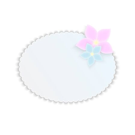 Frame for your text decorated with pink and blue flowers