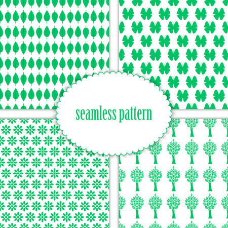 leafage: Set of seamless backgrounds with patterns of nature Illustration