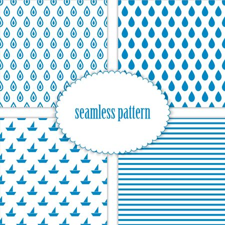 pez vela: Set of seamless backgrounds with sea patterns