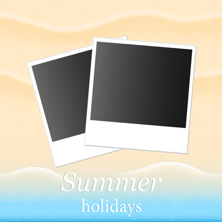 summerly: Summer background with beach sand and sea and photos Illustration