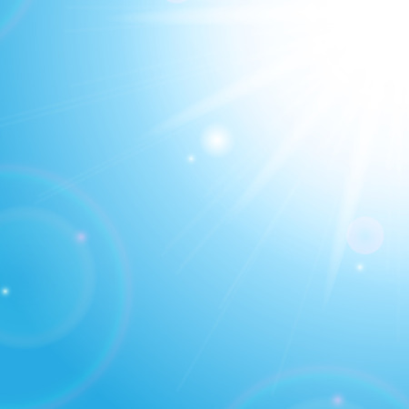 summerly: Sun and sunbeams on the background of blue sky