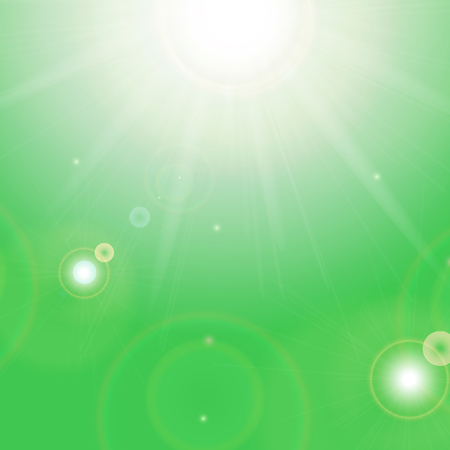Sun and sunbeams on a green background