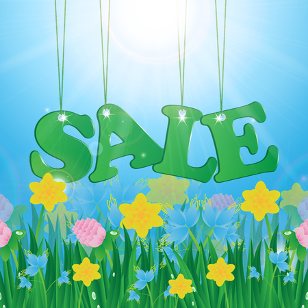 Meadow with colorful flowers and green grass on a background of blue sky and sun and message seasonal sales
