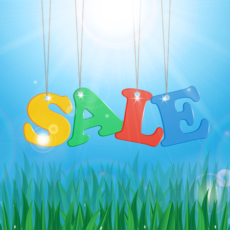 biz: Meadow with green grass on a background of blue sky and sun and message seasonal sales