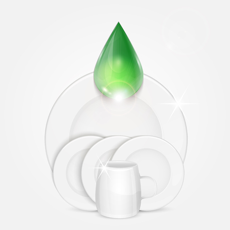 bathe mug: set of clean dishes and green drop.dishwashing liquid on the background plates and cup Illustration