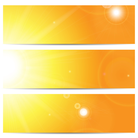 summerly: Set of banners with the sun and sunlight with space for your text Illustration