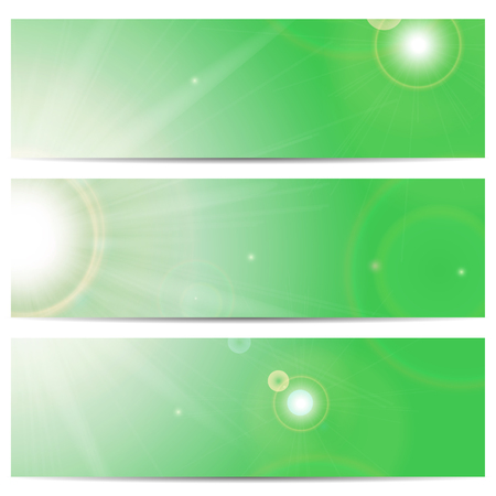 summerly: Set of banners with the sun and sunlight on a green background with space for your text