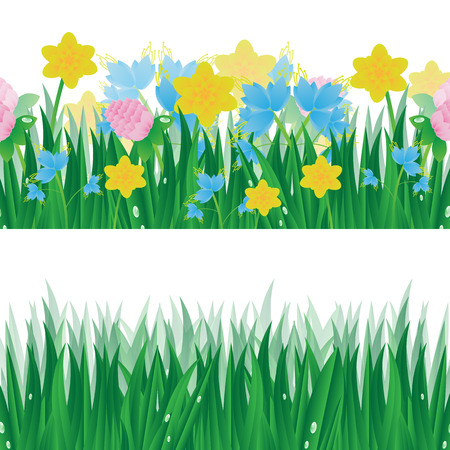 summerly: Set of summer banners with green grass and colorful flowers isolated on white background
