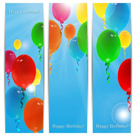 Set of holiday banners for birthday with colorful balloons and place for your text