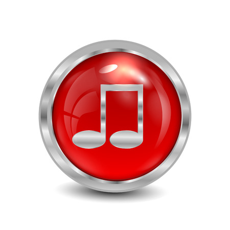 Red button with a musical note isolated on white background