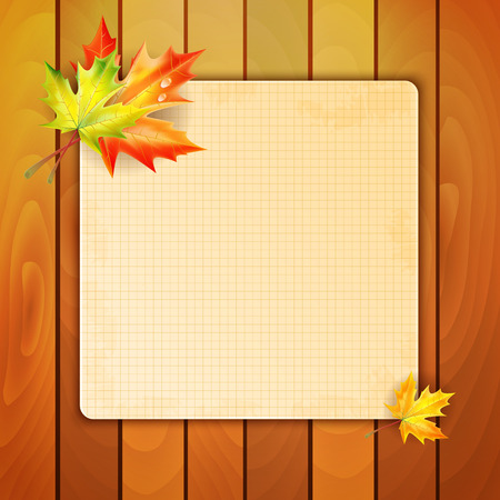 frondage: Sheet in a cage with a place for your text decorated with autumn maple leaves