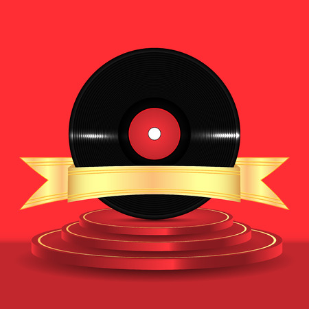 Musical vinyl record with a gold ribbon on a red podium Illustration