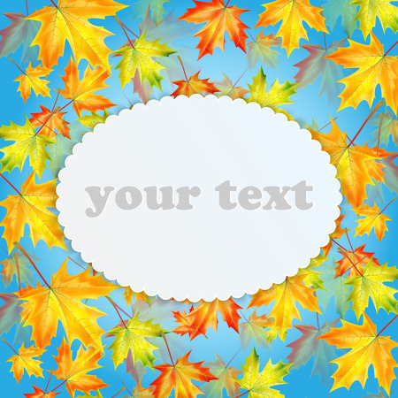 leafed: Autumn background with maple leaves and place for your text