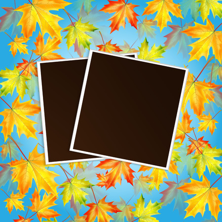 Autumn background with maple leaves and frame for photo with place for your design Illustration