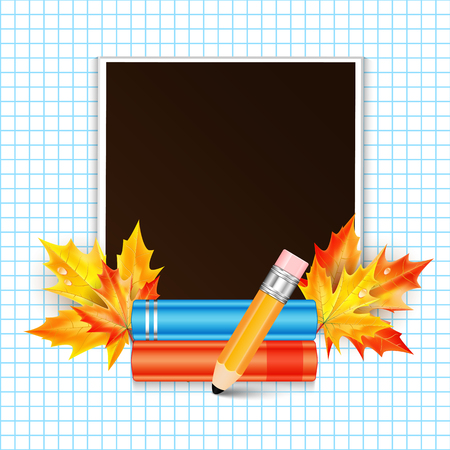Photo frame decorated with autumn maple leaves and school subjects Illustration
