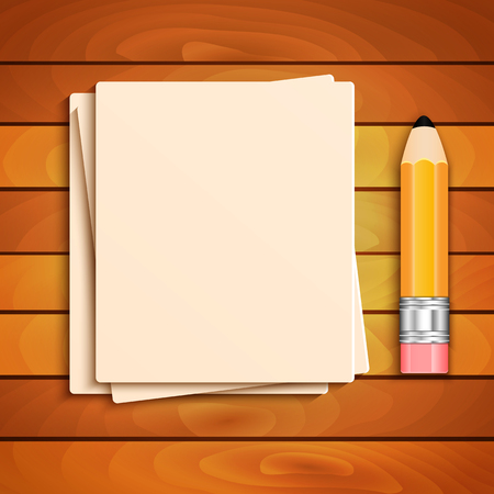 implement: Pencil and a stack of paper sheets on a wooden table Illustration