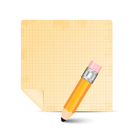 old notebook: Sheet of paper and pencil isolated on white background