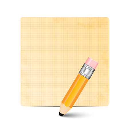 jotter: Sheet of paper and pencil isolated on white background