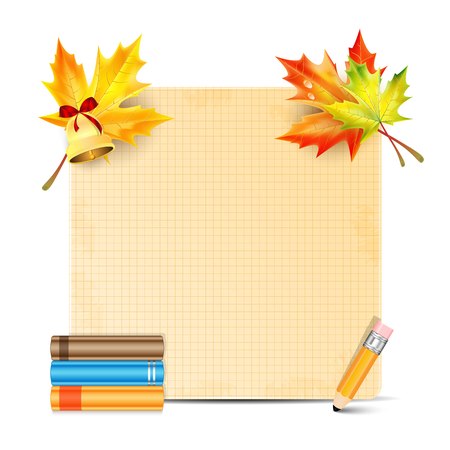 Sheet of paper decorated with autumn leaves of maple and school supplies isolated on white background Illustration