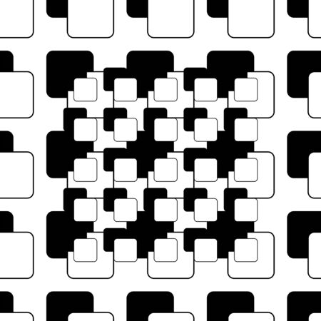 Abstract seamless pattern of black and white squares Illustration