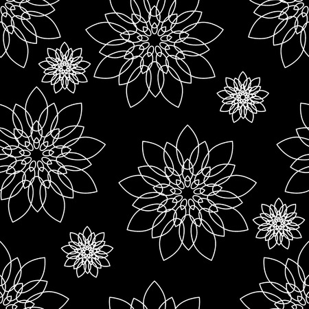floristics: Seamless black and white floral pattern Illustration