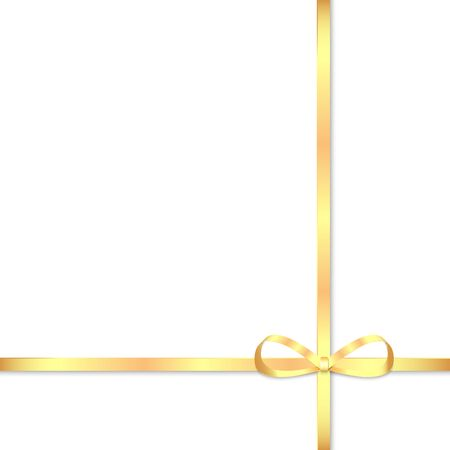 felicitation: Gold bow for decorating gifts isolated on white background