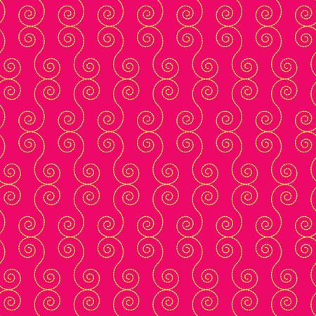 深紅の背景に黄色のスパイラル形状のシームレス パターン