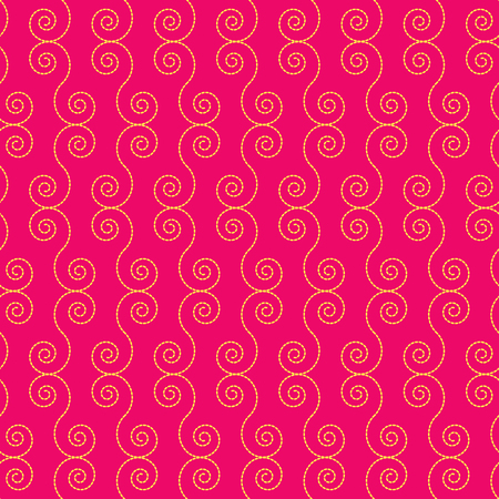Seamless pattern with yellow spiral shapes on a crimson background Illustration