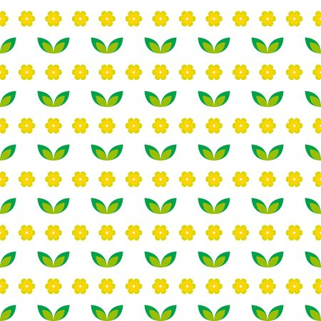 Seamless pattern with yellow flowers and green leaves on a white background